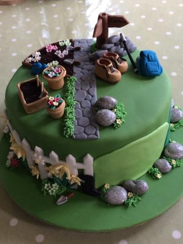 Garden & hill walking themed anniversary cake
